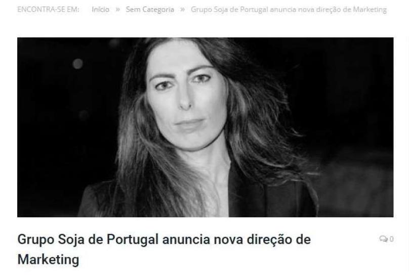 Grupo Soja de Portugal tem nova Diretora de Marketing